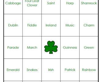 St. Patrick's Day Bingo Cards (digital file) 40 Cards