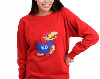 University of Kansas KU Vintage College Sweatshirt Jayhawks University oversized Sweatshirt
