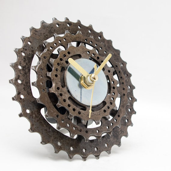 Designer Clock, Original Clock, Desk Clock, Unique Clock, Industrial Clock, Modern Clock, Metal Clock, Gear Clock, Cyclist gift, Unique Gift