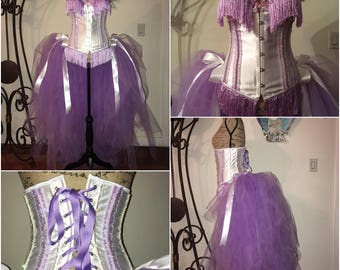 White and Light Purple Crystal Waist Cincher Underbust Corset with Tulle Bustle. Burlesque Princess Cabaret Vintage Dance Costume