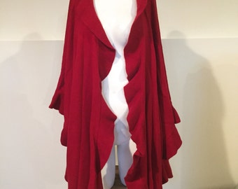 Shawl, Wool Knitted Shawl, knitted Cashmere Cape, Red Ruffled Shawl Coat