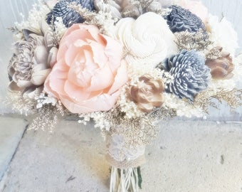 Peach Copper Champagne Ivory Sola Wedding Bouquet/Floral Arrangement,Peach Champagne Wedding, Sola Wedding Flowers, Bridal Accessories, Sola