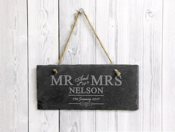 Personalised MR and MRS Slate with Couple Surname - Wedding Gift - New Home - Anniversary Gift - Any Engraved Message