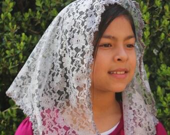 Lace Mantilla Chapel Veil Mantilla - Grey Mantilla- Grey Veil
