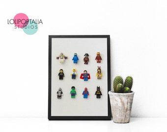 Lego Art for nursery, boys room, playroom, office photo wall art CUSTOMIZABLE hebrew art