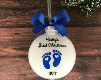 Personalized Baby Ornament, Baby Christmas Ornament, Babys First Christmas, Personalized New Baby Boy Gift, Baby Gift, Newborn Boy Baby Feet