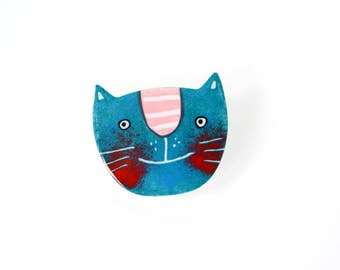 Hand-painted Blue Cat Brooch, Stainless Steel, Cat Pin, Enamel Pin, Enamel Brooch, Animal Pin, Animal Brooch, Cat Face Pin, Pet Pin