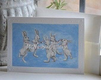 "Greeting Card ""Dancing Bunnies""Spring Card,Fun Friendship card,Celebration Card,Card for children"