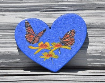 Tiny painting of 2 Monarchs and Coreopsis flowers on wooden heart .