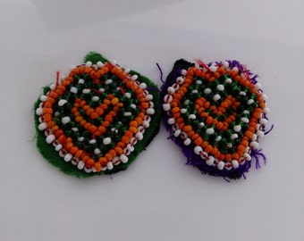 "1.5"" XS Pair of Kuchi Beaded Heart Patches Tribal Kochi Ethnic Textile Appliques Jean Jacket ATS Belt Supplies"