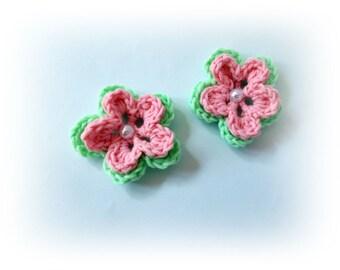 Crochet flowers green pink flower mini crochet flowers Crochet appliques flower Crochet appliques Decoration knit flower craft supplies