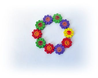 10 Assorted color flower wooden beads, Sunflower Painted wooden beads Flower Happy Face Painted Wooden
