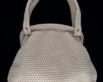 Lumured Ivory Corde Bead Hand Bag, 1950's Vintage, USA