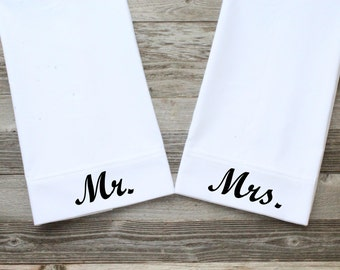 Mr./Mrs. Pillowcases, Wedding Pillowcases, White, Standard Size, Cotton Pillowcases, 300 Thread Count (Black Script Font)
