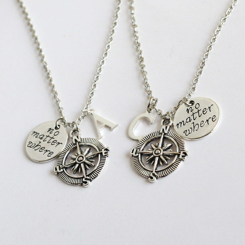 best friends necklace compass necklace no matter where