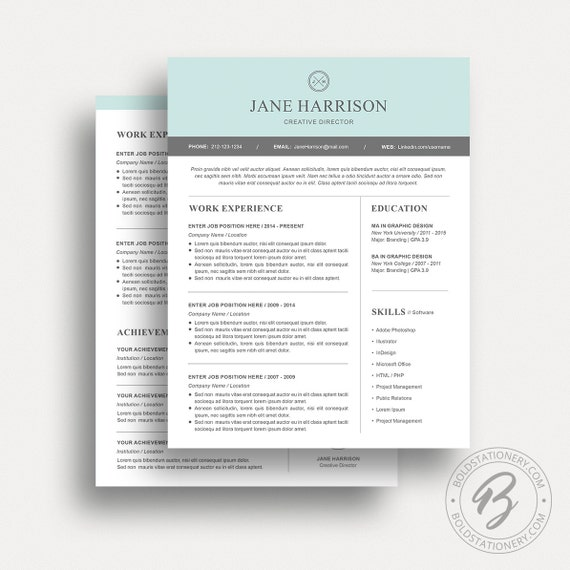 Modern Resume Template 18 - Cover Letter - Word Resume Template – Resume Template Word - CV Template - Modern Resume Design