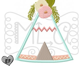 Floral teepee 4x4 5x7 6x10 embroidery file - JEF file -thanksgiving shirt -floral wigwam embroidery - wigwam applique - teepee applique