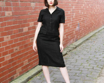 Vintage LINEN Dress / Made in ITALY / Little Black Dress / Minimalist Style / S/M