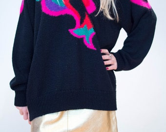 80's Vintage Colourful Abstract Knit Jumper