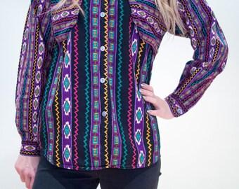 Vintage 80's Aztec Print Shirt