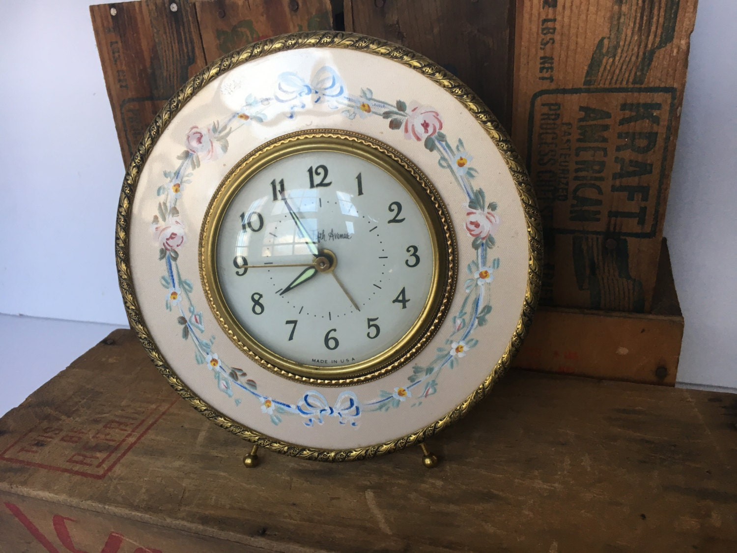 Vintage Alarm Clock Saks Fifth Avenue Hand-Painted Floral ...