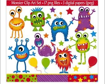 Monster Clip Art, Monster Clipart, Alien Clipart, Monster Party,Clip Art,Monsters, Kids Party, Fun Digital Papers, Scrapbooking,Commercial