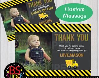 Construction Birthday Thank You Card, Dump truck thank you card