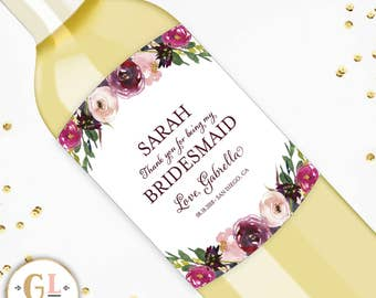 Thank You For Being my Bridesmaid Wine Labels, Be My Maid of Honor Ask, Bridesmaid Thank You Gift, Wedding Party Wine Labels, Bridesmaid Ask