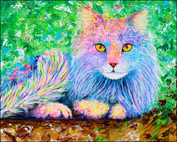 Cat Art - Cat Lover Gift, Long-haired Cat Portrait, Colorful Cat Artwork, Cat Art Prints of my Cat Painting, Cat Print, Cat Gifts for Women.