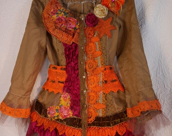 "Cotton jacket ""Zoïa"", color chocolate, Art to wear, Unique, Feminine"