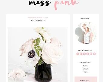"""Blogger Template Mobile Responsive - Instant Digital Download - Premade Complete Blog Design -""""Miss Pink"""""""