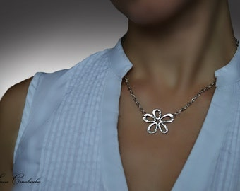 flower jewelry, flower charm necklace, silver flower necklace, nautical, silver necklace, everyday necklace