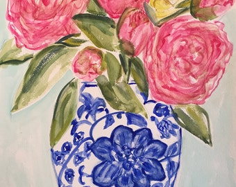 "Original Watercolor Painting ""Peonies in Blue & White Vase"""