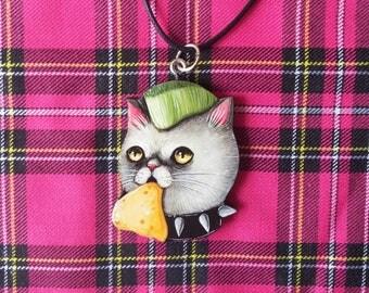 Wooden necklace with punk kitten vomit