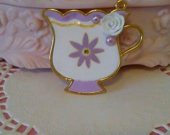 Mad Tea Party: Flower teacup bezel - Handpainted & OOAK