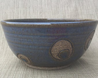 Cereal Bowl, Small Green/Blue Carved Bowl, Ceramic Bowl, Handmade Bowl