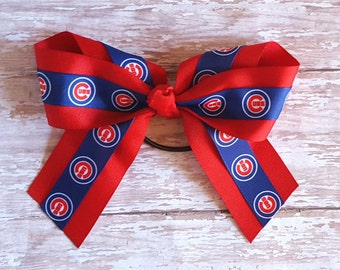 Chicago Cubs Bow/ Cubs Ponytail Bow/ Girl Chicago Cubs/ Hair Bows/ Ponytail Holder/ Girls Ponytail Bows/