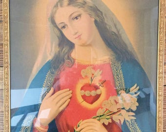 Vintage Virgin Mary Painting, Immaculate Heart of Mary, Large Painting on Paper With Gold Professional Frame, Vibrant Virgin Mary Portrait
