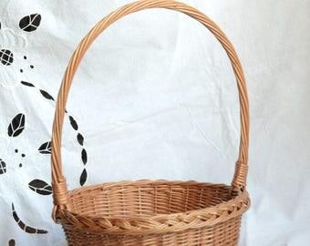 Shallow Wicker Basket, High Handle Basket, Flower Girl Basket, Round Wedding Basket, Easter Basket,Handwoven Willow Basket, Egg Basket