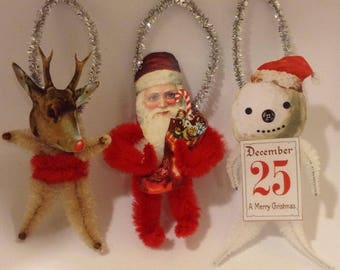 One (1) Nostalgic and Vintage Bump Chenille Christmas Ornament - Reindeer, Santa, or Snowman Styles Available