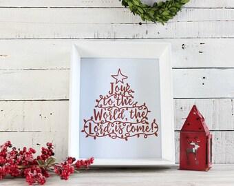 Joy to the World Sign, Christmas Wall Art, Rustic Christmas Decor, Christmas Wall Decor, Farmhouse Christmas, Christmas Tree Print