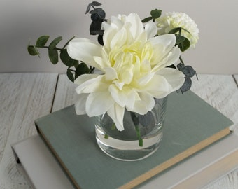 Faux white silk dahlia vase Artificial flowers Silk flower arrangements green eucalyptus white chrysanthamums Mothers Day gift Valentines