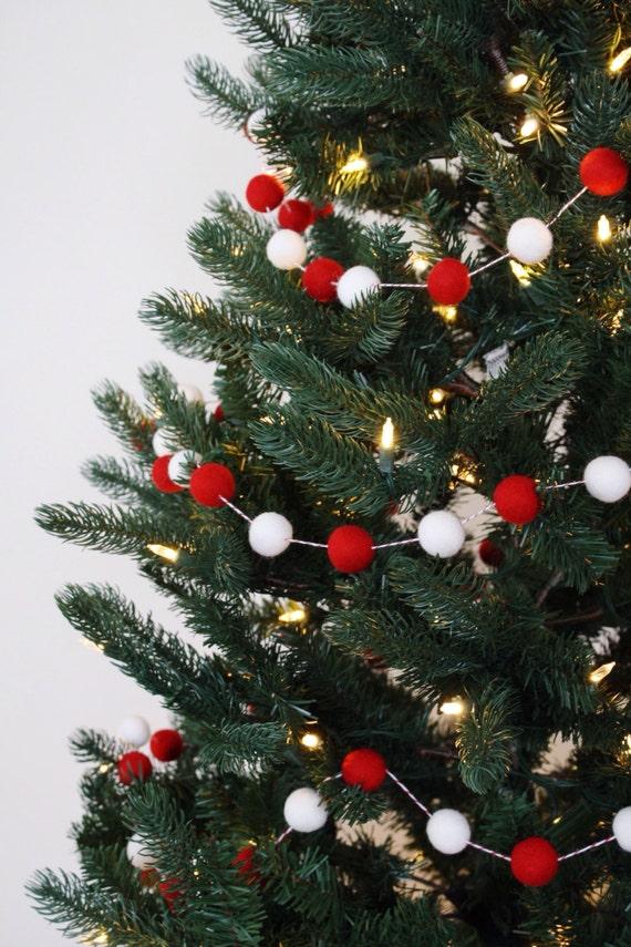 Christmas tree garland felt ball holiday