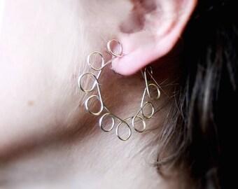 Sterling silver earrings. Hoop earrings. Modernist and Minimalist. Handmade.
