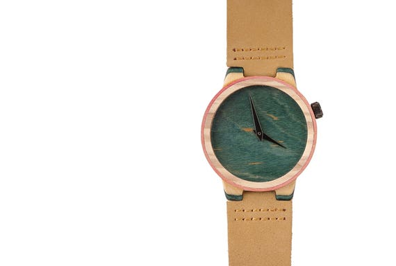 7PLIS watch #27 Recycled SKATEBOARD #madeinfrance yellow brown green wood