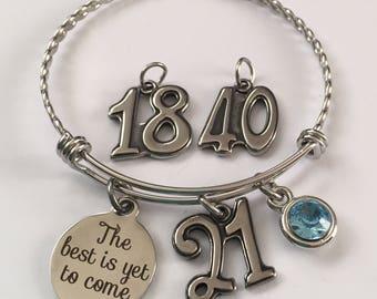 Birthday bracelet-birthday stainless steel charm bangle bracelet-18th birthday bracelet-21st birthday bracelet-40th birthday bracelet