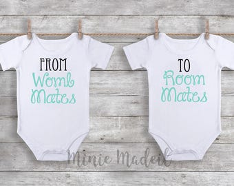 From Womb Mates To Room Mates Twin Baby Matching Outfits (Set Of 2) Baby Boy Baby Girl Twin Babies Matching Onesies Funny Baby Twins Onesies
