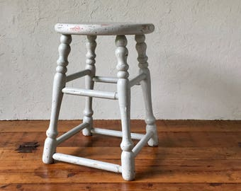Farmhouse Stool, Rustic Wooden Stool, Vintage Seat, Primitive Plant Stand