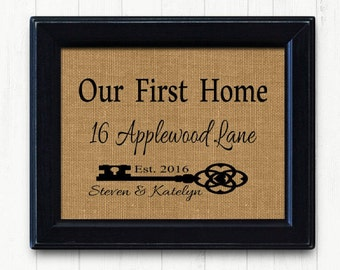 Our First Home, House Warming Gift | Skeleton Key | Our First Home Burlap Print | Personalized Address Sign | New House Gift | New Homeowner