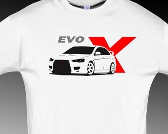 Tshirt for evo X mitsubishi fans t-shirt evolution jdm white S - 5XL